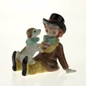 Clown mit Hund, Royal Copenhagen Figur aus der Mini Zirkus Kollektion